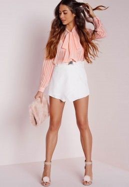 Stripe Pussybow Blouse Blush