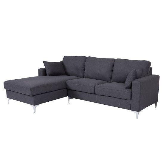 Flake Fabric Left Corner Sofa In Grey With Metal Legs Fabric