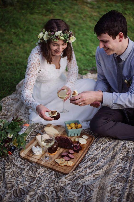 Woodland wedding picnic; Julia Luckett Photography