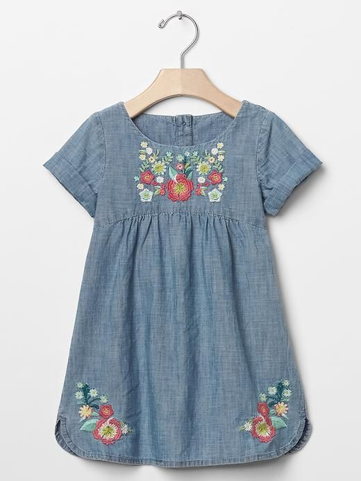 Embroidered chambray denim dress gap laynie loves