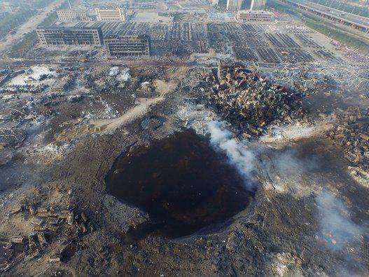 天津爆発で直径100mの巨大クレーターが出現(画像集)