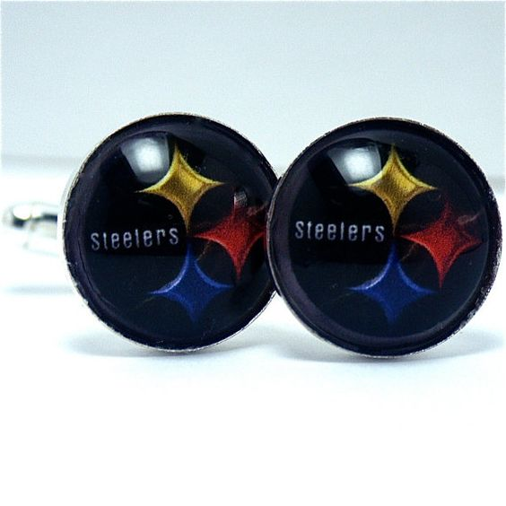 Cuff Links Pittsburgh Steelers Football Team by CynthiaCoolBeans, These cufflinks can be custom made with your favorite sport's team.