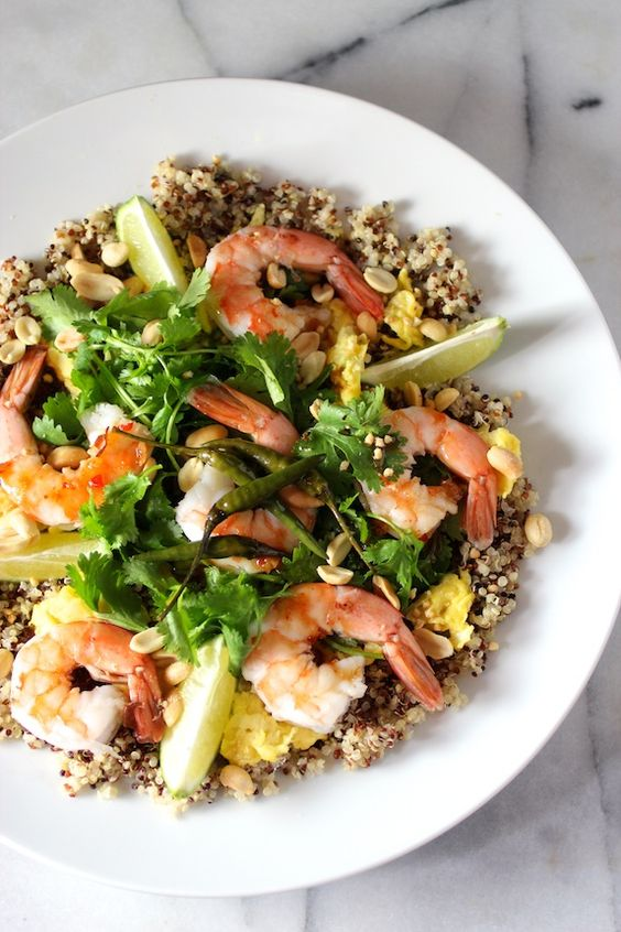 quinoa & shrimp {pad-thai-style} with tri-color quinoa ...