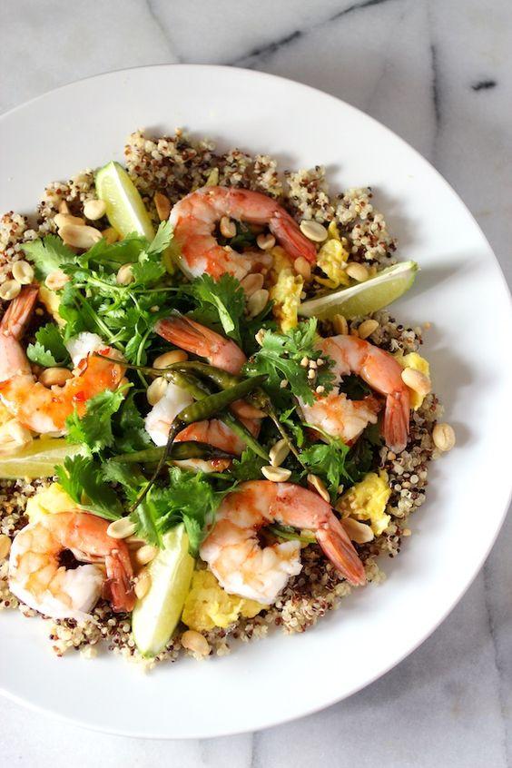 quinoa & shrimp {pad-thai-style} with tri-color quinoa ...