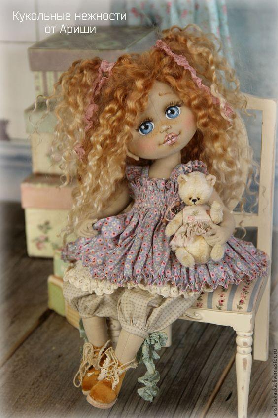 Купить Лолита . Кукла авторская текстильная artdoll - кремовый, розовый, белый, шебби, бохо: