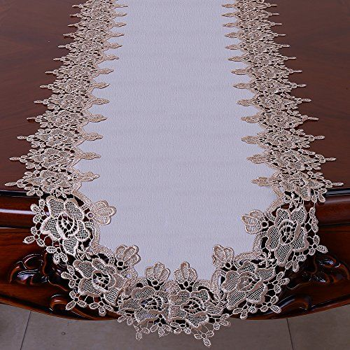 Fashsex Rose Lace Table Runner Dresser Scarf 70 By 15 Inch Soft Gold White Doily Rose Lace Lace Table Runners Rose