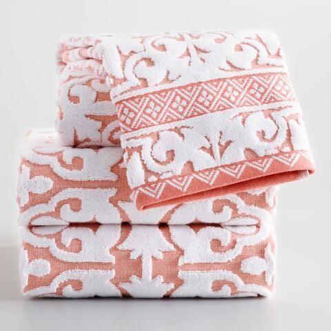 Coral And Ivory Ileana Tile Sculpted Cotton Bath Towel World Market Luxurybathsets Towel Collection Decorative Bath Towels Cotton Bath Towels