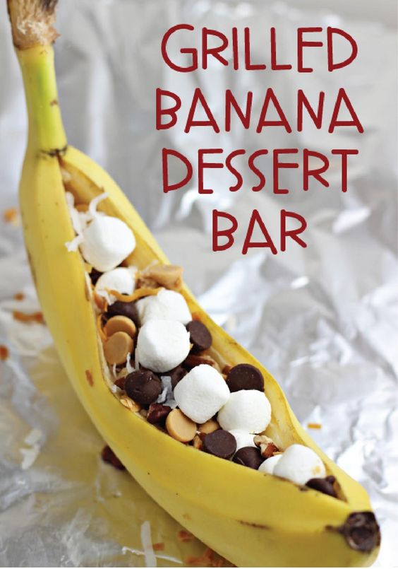 Putting together a Grilled Banana Dessert Bar is simple and will be a hit at your next party! The topping and ice cream options are endless.