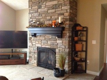 New construction traditional living room st louis for New construction fireplace