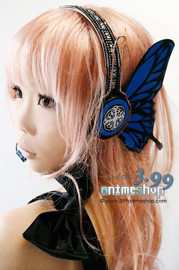 Megurine Luka Magnet Blue Butterfly Earphones - Real (Cosplay) -  I ma not familiar with this character... but I would not be opposed to having awesome butterfly wing headphones someday...