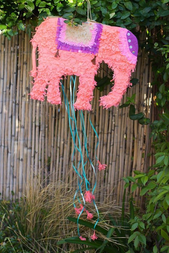 Elephant pinata from a Bollywood Inspired Birthday Party via Kara's Party Ideas |
