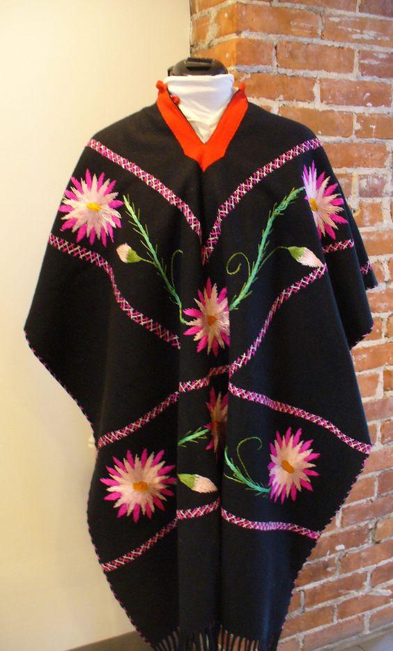 Vintage Mexican Wool Serape Poncho by TheOldBagOnline on Etsy