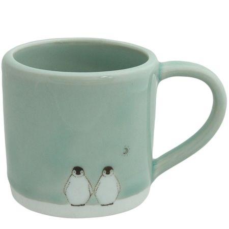 small celadon penguin moon mug