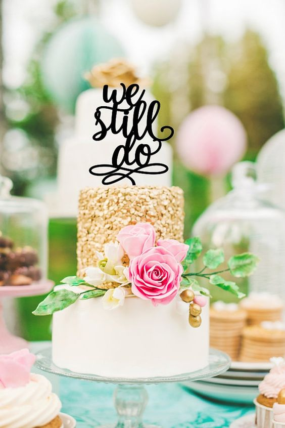 Anniversary Cake Topper  We Still Do Cake by ThePinkOwlGifts