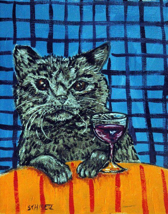WINE art with a BLACK cat PRINT poster gift modern folk JSCHMETZ 8x10 #Impressionism