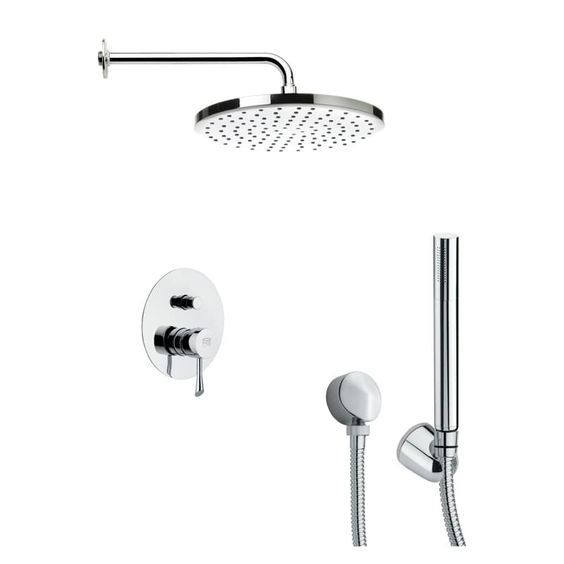 Nameeks SFH6046 Remer 2.5 GPM Round Single Function Rain Shower Head with Hand S Chrome Faucet Shower System Double Handle