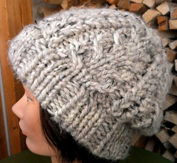 Slouchy Toque Knitting Pattern : KNITTING PATTERN // PDF instant download // Super bulky yarn hat with cables ...