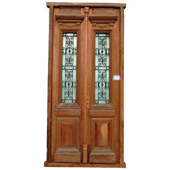 Puerta de entrada cod 2933 puerta para frente de madera for Puertas antiguas de madera de 2 hojas