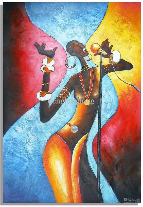 Online Cheap Hand Painted Wall Art Abstract Oil Paintings, African ...