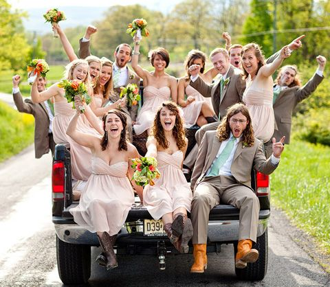 Bridal party shot from the bed of a truck :o)