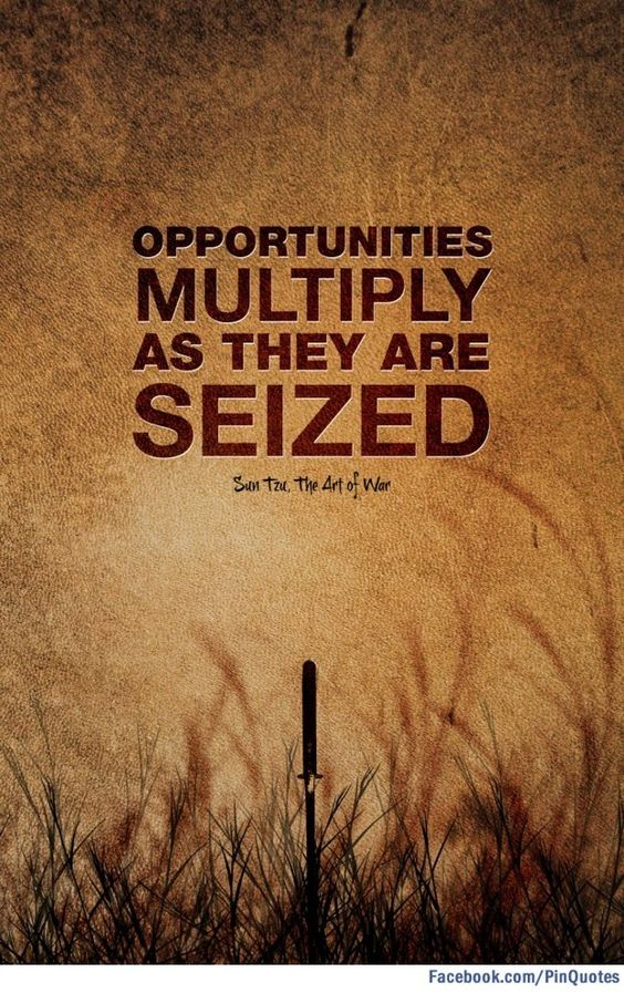 """""""Opportunities multiply as they are seized."""" Sun Tzu"""