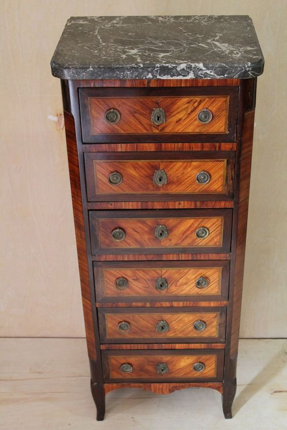 French Transitional Semanier Marble & Marquetry Lingerie Chest, circa from rosewoodgallery on Ruby Lane