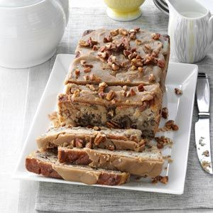 Apple Praline Bread - Cut sugar (maybe 1 cup brown only, or sub maple syrup? for some) - Replace eggs with bananas or flax/chia eggs - Omit butter?