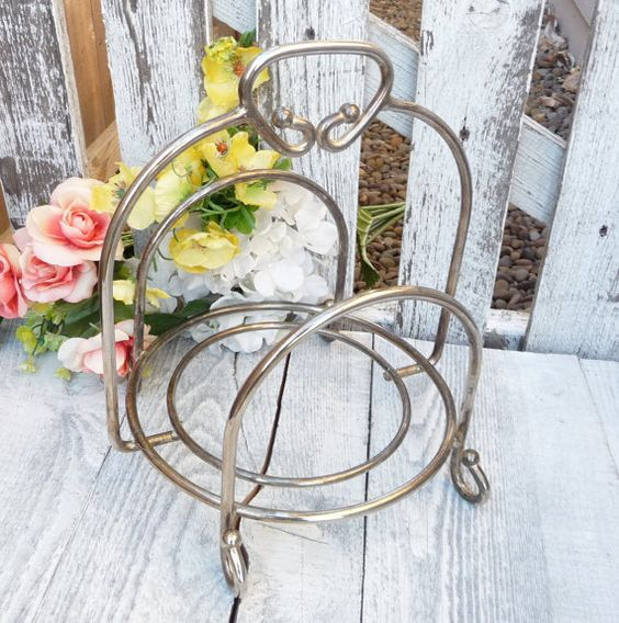 Silver plated Cookbook Holder/ Display Rack with Handle