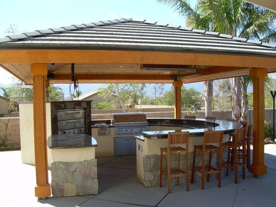 Outdoor living complete your design with backyard for Outdoor kitchen roof structures