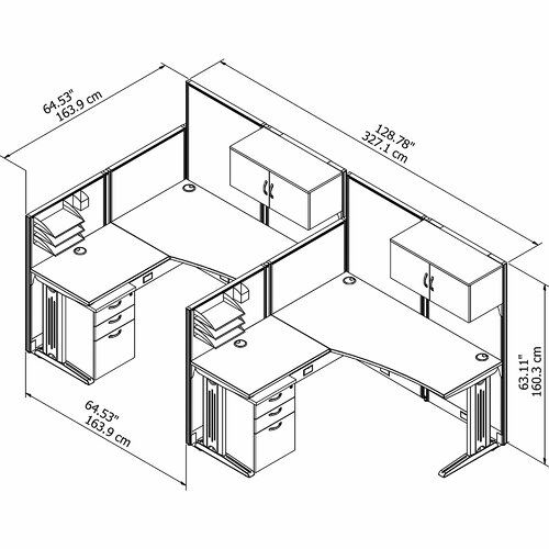 2 Person Workstation 6 Piece L Shape Desk Cubicle Bush Business Furniture Office Layout Small Office Design Interior