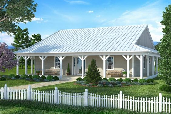 House plan 207 00007 country plan 1 738 square feet 2 for Simple roofline house plans