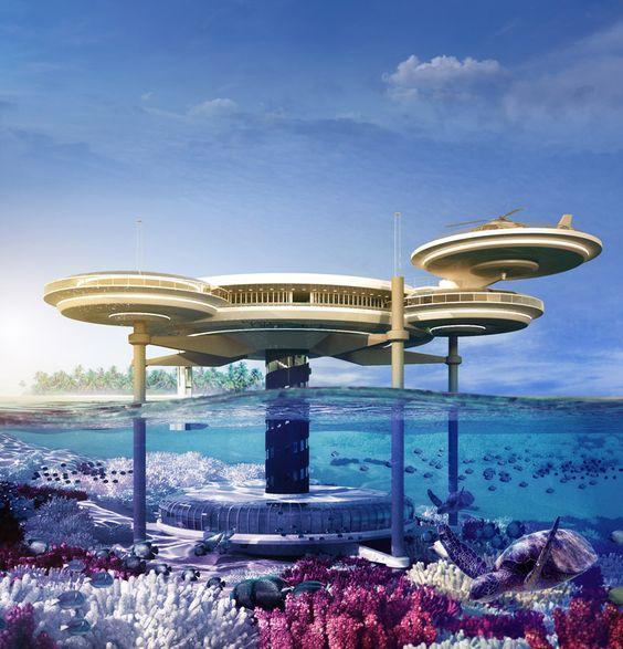 deep ocean technology: water discus underwater hotel.