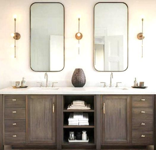 Tall Mirrors And Sconces Over Double Vanity In 2020 Wood Bathroom Vanity Wood Bathroom Cabinets Dark Wood Bathroom