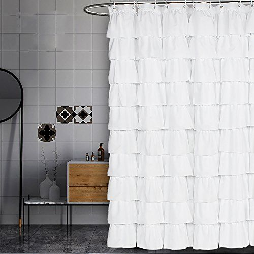 Volens White Shower Curtain Fabric Ruffle For Bathroom 72in Long