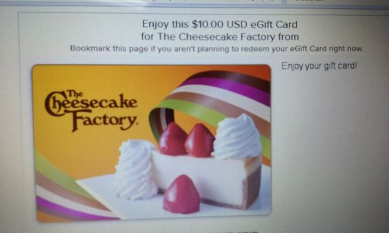 The Cheesecake Factory Gift Card $10 Printout Free Shipping Low Price Save $$$…