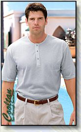 Collarless shirt example that Picasso is supposed to wear. (It would be tan though)