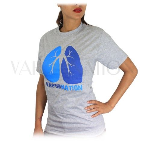 """http://www.vapornation.com/vapornation-lungs-t-shirt.html This stylish VaporNation T-Shirt features a set of Lungs on the front and the slogan """"Stop Smoking. Start Vaporizing."""" on the back. It's made from 100% cotton, comes in either gray or blue and is available in all sizes."""