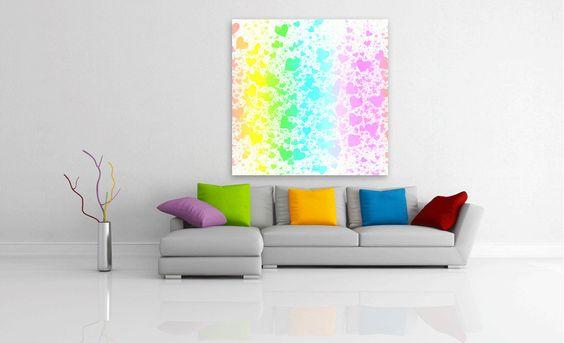 Kauf 'Rainbow Hearts' von Christy Leigh auf Leinwand, Alu-Dibond, (gerahmten) Postern und Xpozer.