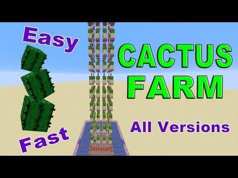 Minecraft Automatic Cactus Xp Farm Fast Easy Efficient Youtube In 2020 Minecraft Cactus Cactus Farm