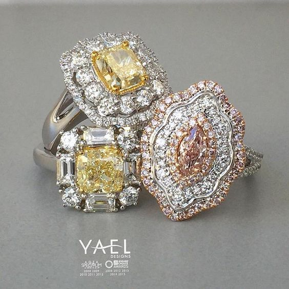 Three natural color diamond rings. One to keep. Which one will it be? #pinkdiamond #yellowdiamond #diamondring #yaeldesigns