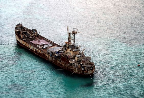 The Philippine navy's dilapidated Sierra Madre ship anchored near the Ayungin Shoal (Second Thomas S... - Provided by AFP