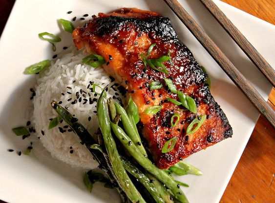 Broiled Salmon with Miso Glaze, Sesame Green Beans and Jasmine Rice