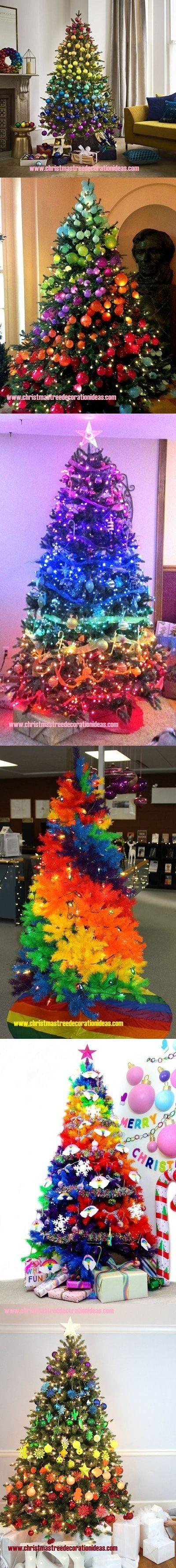 Rainbow Christmas Tree Decorating Ideas