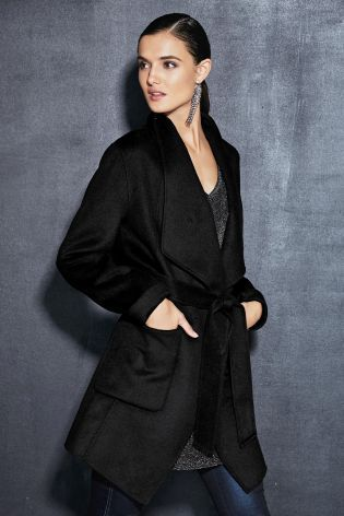 Buy Black Waterfall Coat from the Next UK online shop | Fashion