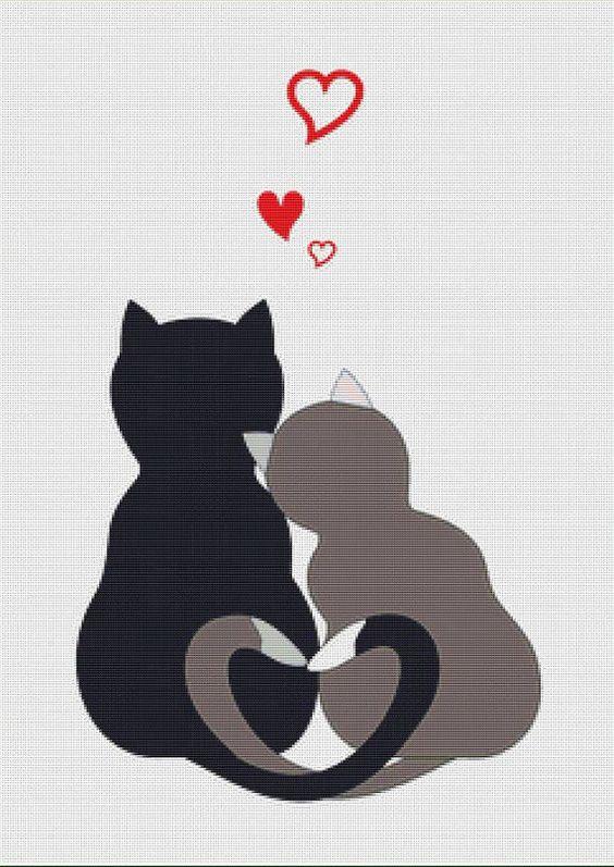 Cats in Love PDF Cross Stitch Pattern by XSquaredCrossStitch, $3.00