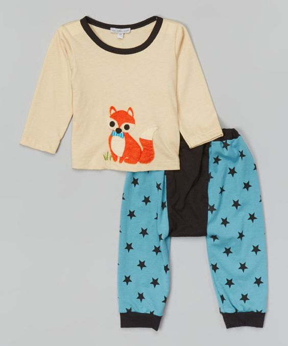 Look at this Victoria Kids Ecru Fox Tee & Turquoise Star Leggings - Infant & Toddler on #zulily today!