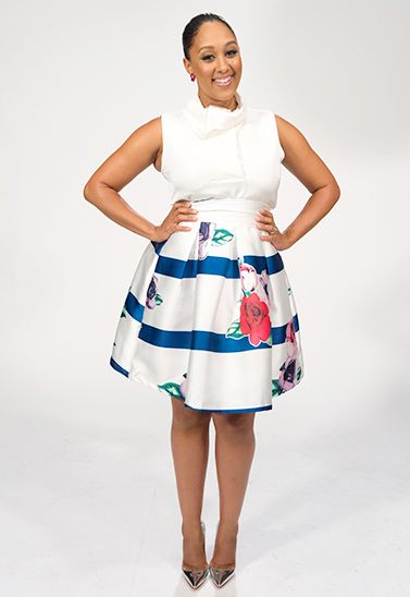 Tamera is working it in an Opening Ceremony top and skirt with Christian Louboutin heels.