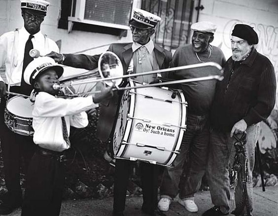 """R to L:  Dr John, Bo Diddly, Uncle Lionel Batiste and Troy """"Trombone Shorty"""" Andrews."""