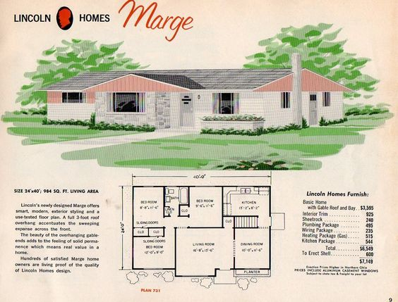I love these old Mid Century home plans