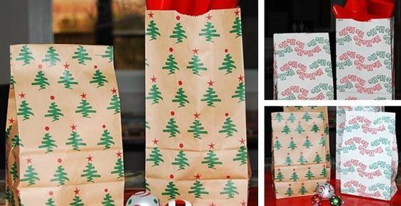 Christmas Paper Treat / Gift Bags - Stamp